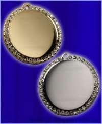 Медальон круглый со стразами мини