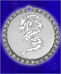 Медальон круглый со стразами