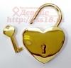 Свадебный замочек с ключом золотистый