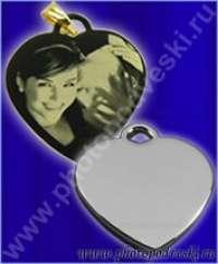 Кулон сердечко мини с гравировкой фото