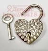 Свадебный замочек с ключом серебристый со стразами маленький